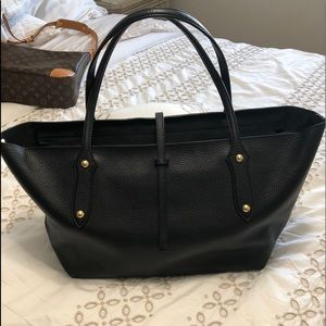 Annabel Ingall black leather shoulder tote